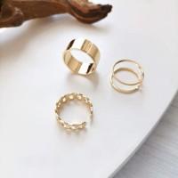 Band Ring Set, 3 Silver & Gold Color (2 sets, 6 ring)