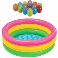 INTEX 57422, Glow Three Rings Soft Inflatable Floor Portable Swimming Pool for Kids